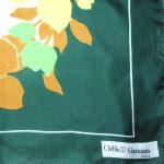 Odile St Germain Paris green background flower design silk scarf
