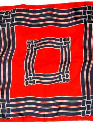 Jacqmar red, white and blue design silk scarf