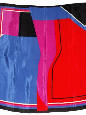 Jacqmar block design silk scarf in red, pin,, blue and black
