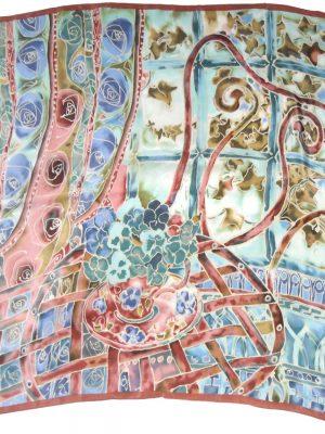 Anna Benham screen print mauve, blue and green silk scarf
