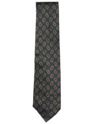 Liberty of London silk tie with a green background and a paisley design