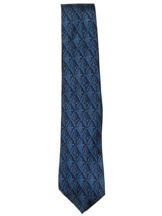 Aquascutum blue fleur de lis design silk tie