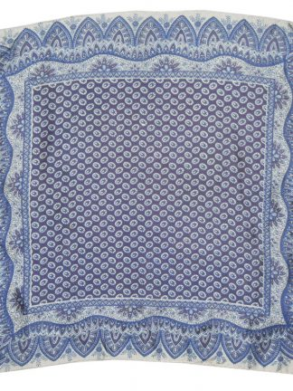 Silk square with an intricate blue and white design