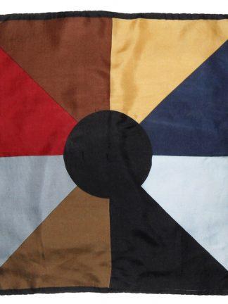 Circle and segment colour design silk square