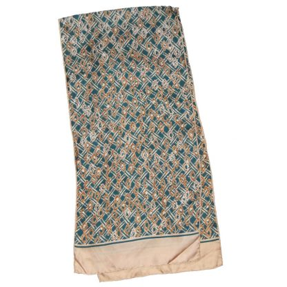 Long green and gold silk scarf