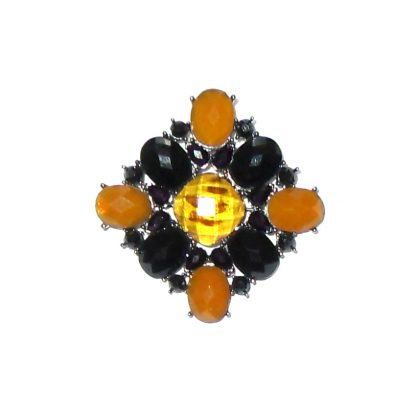 Vintage brooch with purple and orange stones