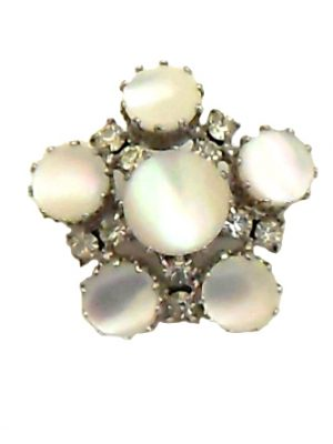 Mother of pearl and clear stone brooch