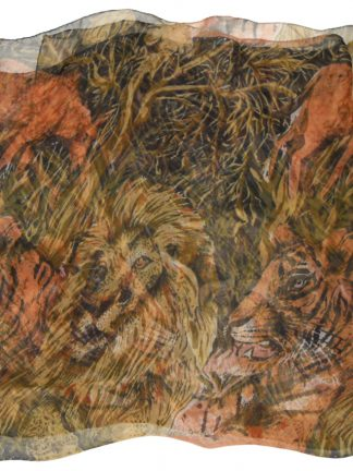 Large chiffon silk scarf with a design of jungle animals