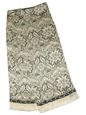 Echo Signature long cream and black silk scarf