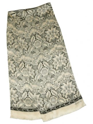 Echo Signature long cream and black silk scarf