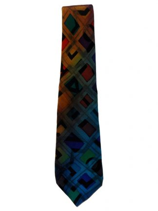 Multi colour hand painted silk tie