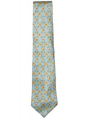 Roderick Charles yellow flower design silk tie