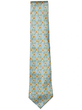 Roderick Charles yellow flower design silk tie