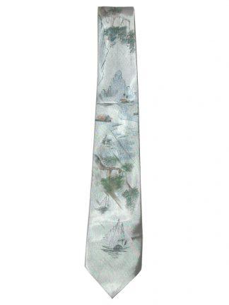 Hand painted scenic silk satin tie