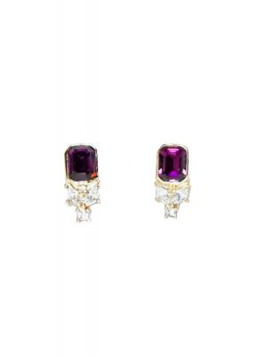 Christian Dior clip on earrings with purple and clear stones