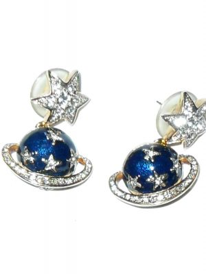 Butler and Wilson Saturn and star blue enamel and clear stone earrings