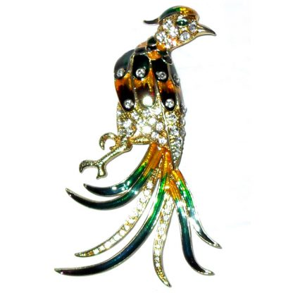 Bird of Paradise enamel and stones large brooch