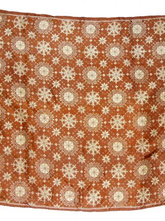 Snowflake design on a brown background silk scarf