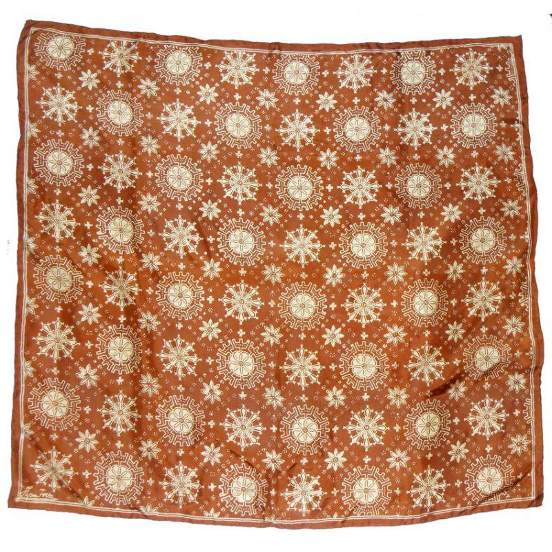 Snowflake design on a brown background silk scarf