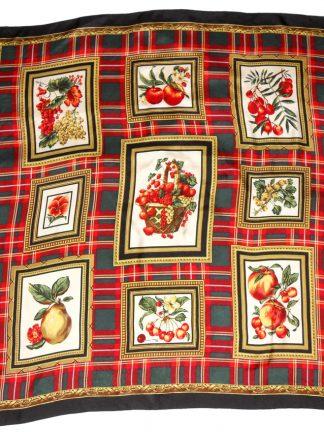 Fruit and tartan design scarf