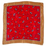 Red and blue flower design silk scarf with a brown border