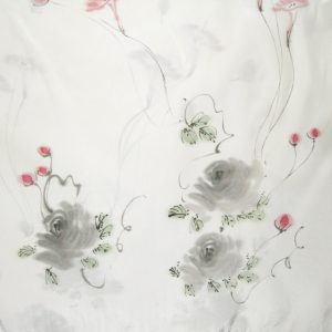Long silk scarf with a delicate flower design