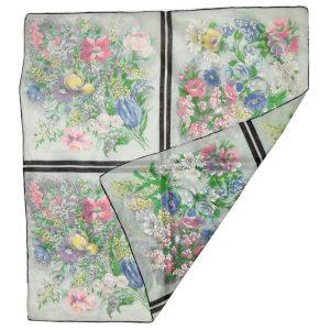 Fine cotton multi colour flower design scarf