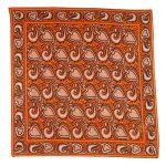 Orange, brown and white design silk scarf