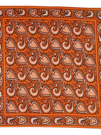 Orange, brown and white design silk scarf