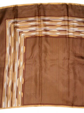 Italian silk scarf with a brown stripe design