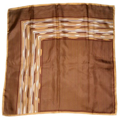Italian silk scarf with a brown stripe design