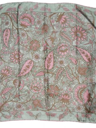 Richard Allan soft green and pink flower design silk scarf