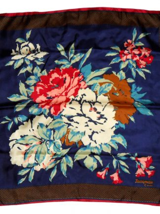 Vintage Jacqmar of London bright flower design silk scarf
