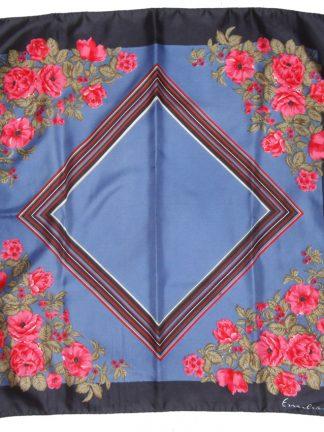 Pink flower design on a blue background silk scarf