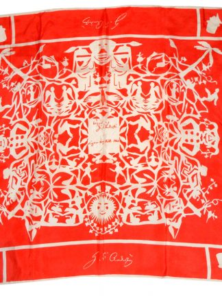Red and white design silk print scarf