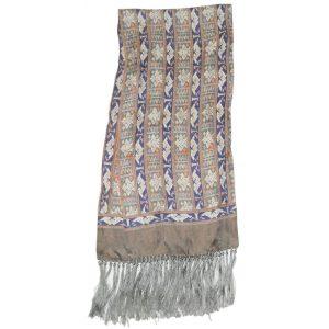 Long silk satin jacquard scarf