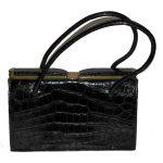 Vintage 1950-1960s black croc handbag