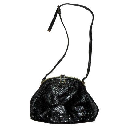 Jane Shilton black snakeskin and leather shoulder bag
