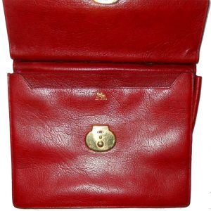 Jelen Paris red grained leather briefcase
