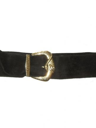 Fashion Ways London black suede belt with gold tone metal snake design buckle