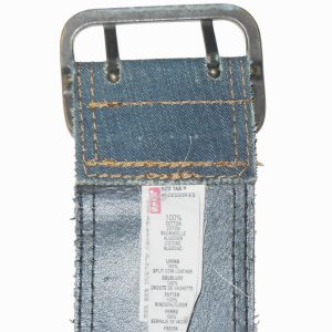 Levis denim, leather backed red tab belt