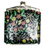 Floral print leather framed coin purse made in Italy