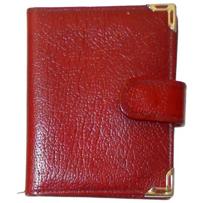 Red grained leather card holder