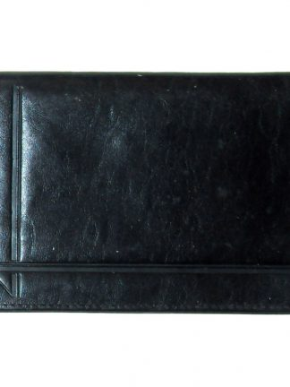 Black leather trifold wallet, made in France
