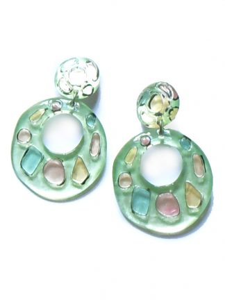 1960s Green plastic clip on earrings with pink yellow and blue