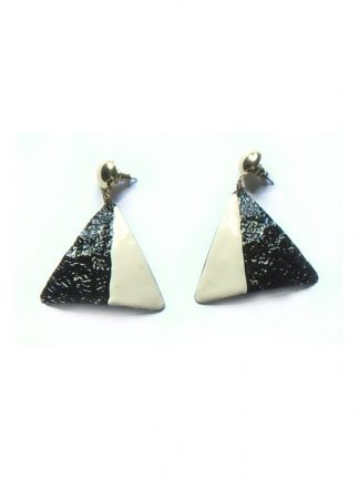 Two-tone black and cream earrings for pierced ears