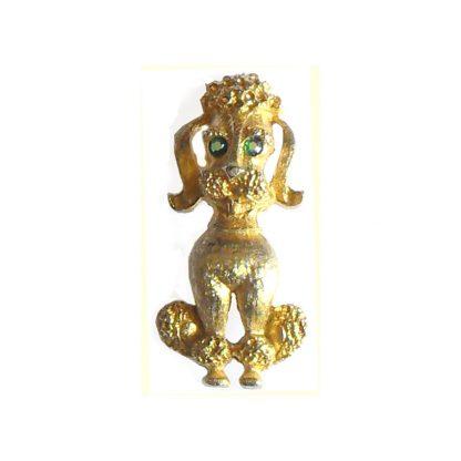 Gold tone metal poodle brooch with crystal eyes