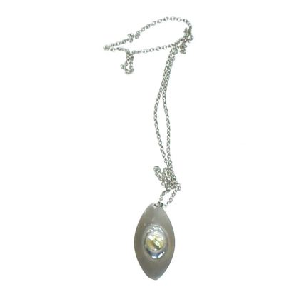 Stainless steel oval pendant with abalone decoration on chain