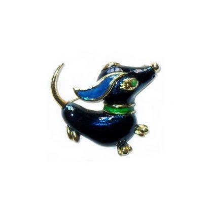 Blue enamel daschund dog brooch
