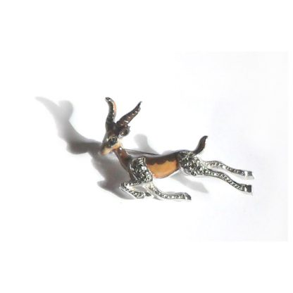 Leaping antelope marcasite and enamel brooch